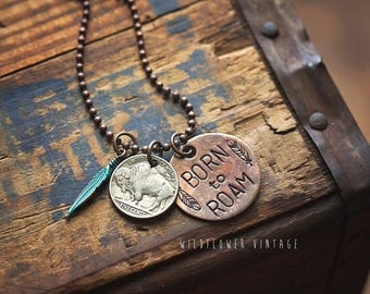Born To Roam Buffalo Nickel Bison Charm Necklace | Boho Copper Jewelry Coin Feather Hand-Stamped Unisex Gift