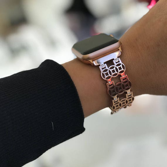 Apple Watch Band -  Flower - more colors available - stainless steel and zirconia stones