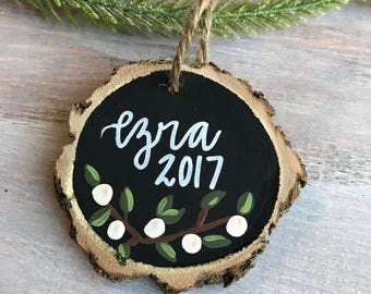 Christmas Ornament, Name Ornament, Wooden Ornament, Rustic Ornament, Christmas Decor, Hand Lettered Ornament, Wood Slice Ornament