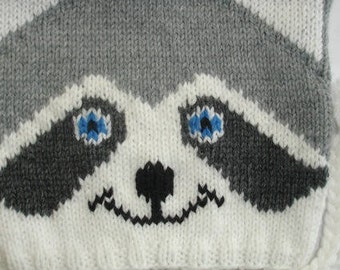 Beanie baby and child knitted handmade raccoon newborn to 4 years