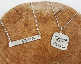 Mama Bear Hand-Stamped Necklace - Sterling Silver; Momma Bear Hand-Stamped Necklace - Sterling Silver