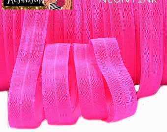 "5/8"" inch NEON Pink FOE Fold Over Elastic - Solid Color - By the Yard- Shiny DIY For Headband"