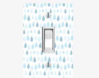 Raindrops light switch cover - Blue switchplate