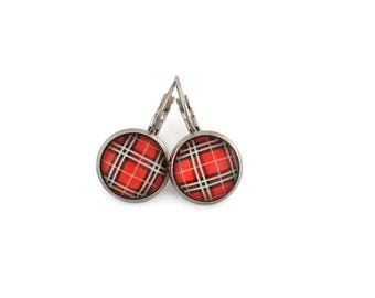 Sleepers cabochons - stem stainless steel - glass 12 mm - red earring - carrot striped - hypoallergenic / Red earrings