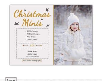 Christmas Mini Session Template, Christmas Minis Template PSD Photoshop, Holiday Mini Session Template,  Mini Session Template Holiday S526