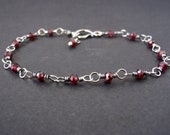 Garnet Bracelet ~ Handcrafted with Eco-Recycled Sterling Silver ~ Dark Blood Red Faceted Gemstones ~ Protection Stone ~ Crystal Magick
