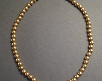 "Antique 19th Century 10K Gold Beads 14.5"" long #4 strung on a gold chain"