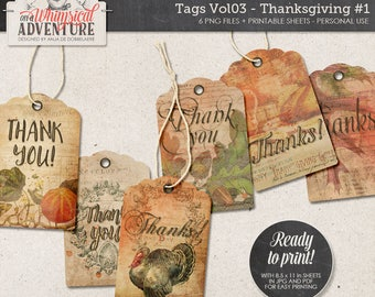 Be Thankful, Thank You, Thanksgiving Printable Tags, Instant Download, Digital Collage Sheet, Count Your Blessings, To Gather, Give Thanks