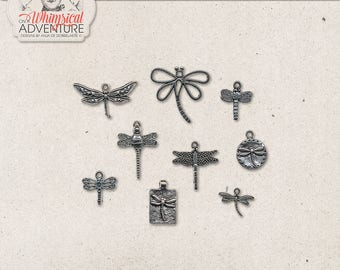 Silver Dragonfly Charms, Dragonfly Pendants, Commercial Use OK, Silver Bugs, Digital Download, Nautical Scrapbook Elements, Spring, Summer