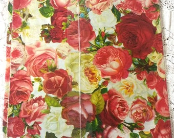 Vintage Rose Wrapping Paper Floral Romantic Pink Red & White Any Occasion Made in USA by Artfaire Sealed NOS Gift Wrap
