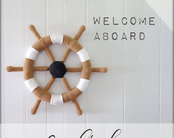 CROCHET PATTERN #004---Crochet boat helm nautical wall decoration