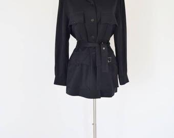 VTG Yves Saint Laurent Navy Belted Military Jacket