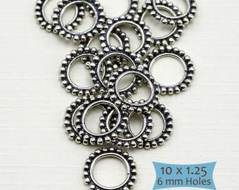 Sterling Silver Big Hole Granulated Ring Beads--1 Pc. | 29-BW213-1