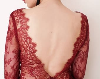 Romantic red wine burgundy detailed lace dress