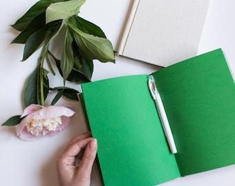 Green notebook hardcover - fabric sketchbook, creative journal, blank, handmade, green paper, INKCRAFT book