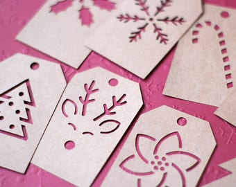 Set of 8 Christmas SVG Gift Tags - Christmas Tree, Snowflake, Candy Cane, Reindeer, Pointsettia, Holly & 2 Blank Tags