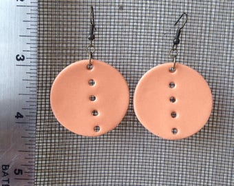 Handmade Porcelain Earrings, Earrings, Orange, Jewelry, Handmade, Wearable, Colorful