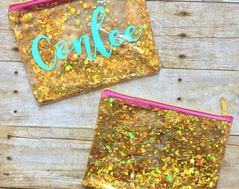 Confetti Glitter Makeup Bag, Cosmetic Bag, Gold Glitter, Zipper Pouch, Make Up Bag, Pencil Case, Purse Organizer, Clear Pouch, Transparent