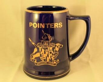 Vintage Cobalt Blue Gold Trim Pointers Dog Tankard/Stein/Mug Unicorn Crest