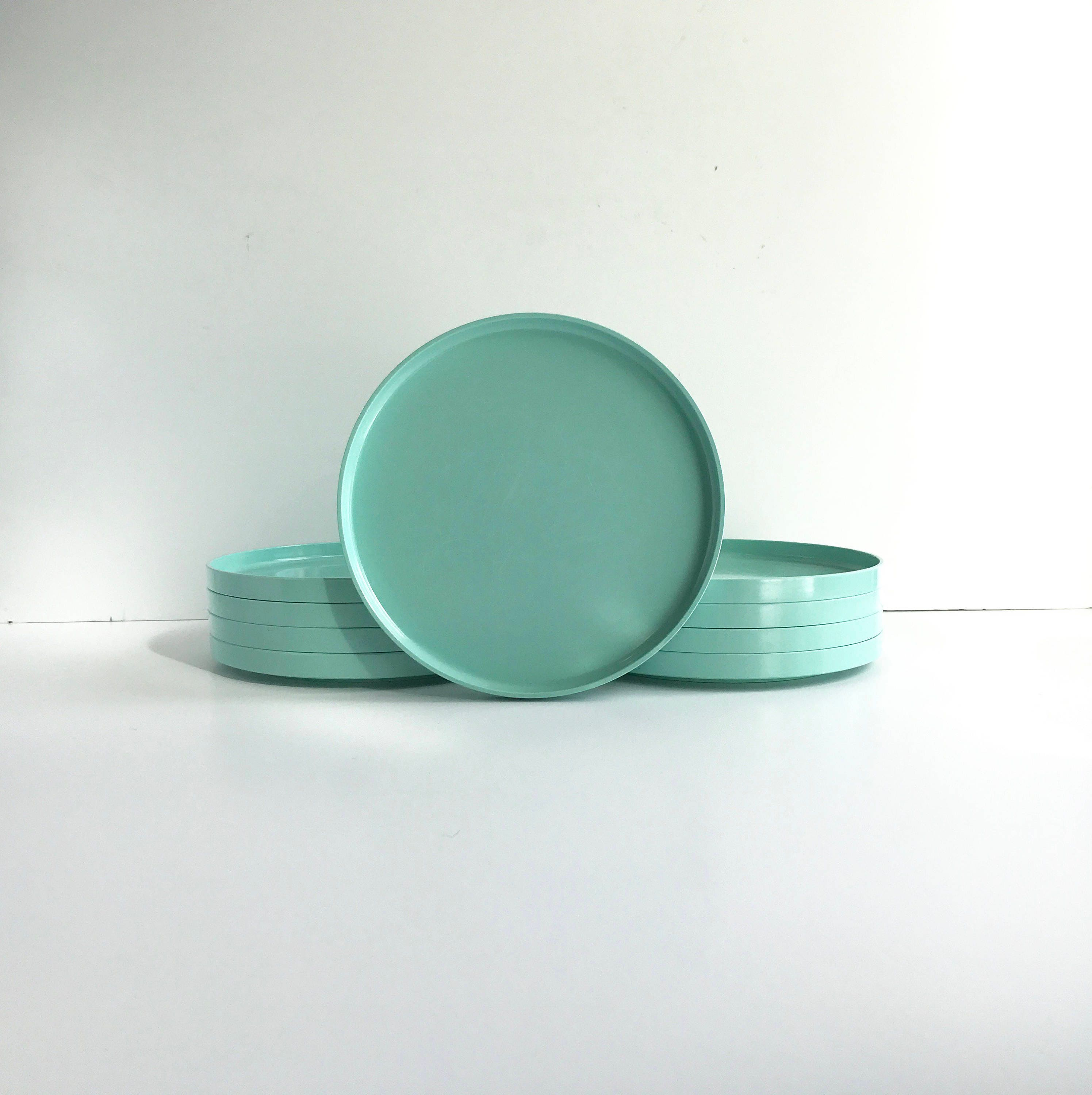 Mid Century Heller Melamine Dinner Plates Vintage Teal Heller Plates by Massimo Vignelli 8 Available : teal dinner plates - pezcame.com