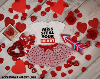 Miss Steal Your Heart  Bodysuit or T-Shirt for Baby Toddler Kid Newborn Babies Shower Coming Home Gift Idea Top Creeper Present Cute Day