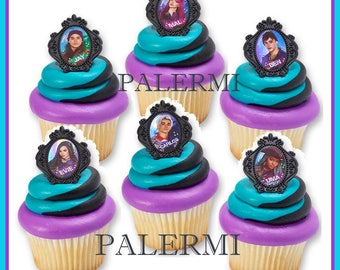 Disney Descendants Cupcake Topper Rings, Descendants Cupcake Topper