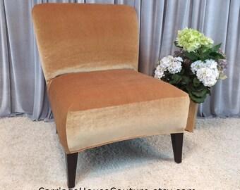 Slipcover Gold Velvet Chair Cover for Armless Chair, Slipper Chair, Accent Chair, Parsons Chair,Teal,Plum,Brown,Gray,Beige,Cranberry