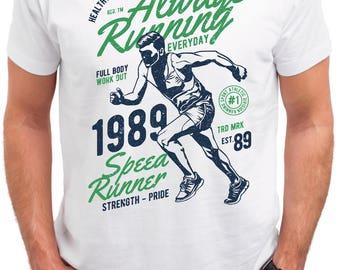 Athletic Dept. Always running. Men's white cotton t-shirt