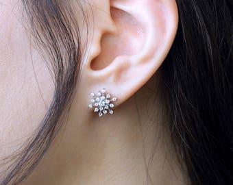 0.66 ct.tw Snowflake & Bloom Stud Earrings-Flower Earrings-Brilliant Cut Diamond Simulants-Delicate Luxurious Earring-Sterling Silver [8464]