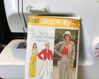 1973 Simplicity Pattern #5510 Young Contemporary Fashion Size 9/10