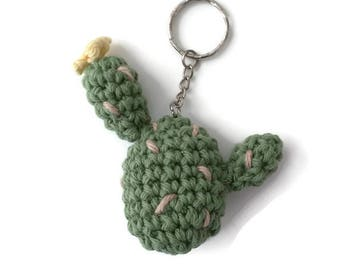 Amigurumi Cactus Keychain - Cacti Keychains Charms, Bag charms, Bag Accessories, Cactus with Flower Keyring, Crochet Cactus, Knit Cacti