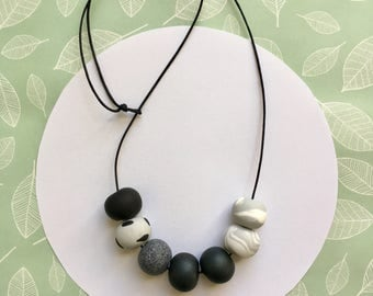Handmade Grey Marble Spotty Polymer Clay Bead Necklace