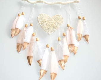 Boho Wall Hanging Feather Dream Catcher Home  Decor, Wicker Heart Wall Art Decor, White Blush Boho  Nursery Bedroom Decor, Baby Shower Gift