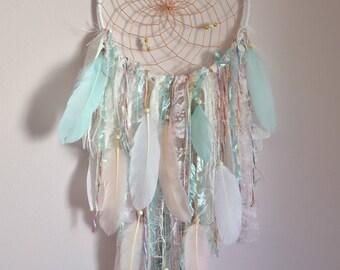 Boho Nursery Decor, Boho  Feather Lace Dreamcatcher, Mint Blush Bedroom Nursery Wall Decor, Tribal Baby Shower Gift, Wall Hanging Decor