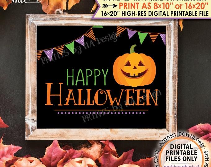 "Happy Halloween Sign, Pumpkin, Jack-O-Lantern, Orange Purple Green Halloween Print, PRINTABLE 8x10/16x20"" Instant Download Sign"