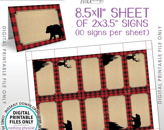 """Lumberjack Labels, Red Checker Buffalo Plaid Food Labels Buffet Cards Table Tent Menus, Bear Dear Trees, PRINTABLE 8.5x11"""" Instant Download"""