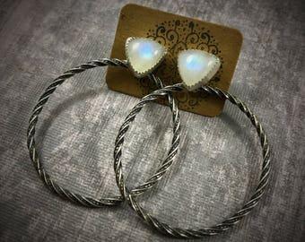 Moonstone Hoop Earrings, Moonstone Hoops, Moonstone Earrings, Rainbow Moonstone Earrings, Silver Hoops, Sterling Silver Hoop Earrings