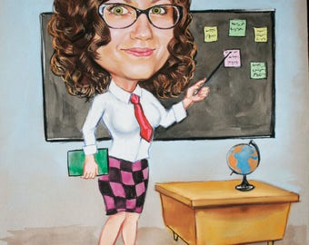 Woman caricature, teacher, Caricature, Funny teacher drawing Personalized Caricature, created from Photo, Handmade,Fun gift, custom painting