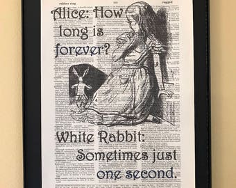 How long is forever? Sometimes just one second; Alice in Wonderland; Dictionary Print; Page Art