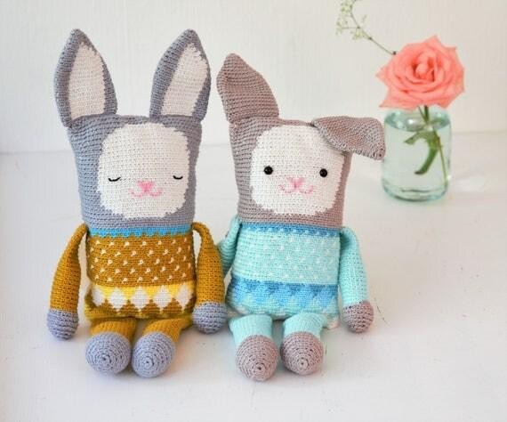 Free Crochet Dutch Rabbit Pattern : Crochet pattern stuffed toy rabbit English US and Dutch