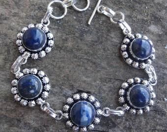 "Sterling Silver Natural Blue Lapis Lazuli Bracelet - 7-8"" Bracelet - Natural Stone Bracelet - Natural Stone Bracelet"