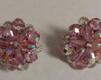 Vintage Pink and White Beaded Clip On Earrings