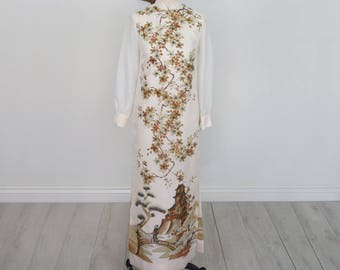 Vintage 1960's Alfred Shaheen, long sleeve, full length dress with Asian print