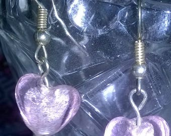 Handmade pale pink heart earrings