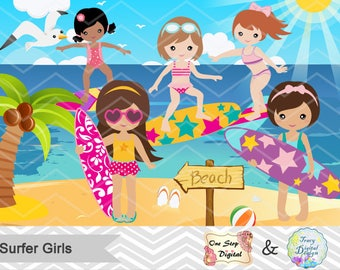 Digital Surfer Girl Clip Art, Instant Download Surfing Girl Clipart, Summer Beach Party Clipart, Surf Clipart, Girl Surfer Clip Art 0164