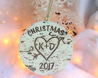 Christmas Ornament, Handmade Ornament, Custom Ornament, Heart and Arrow, Birch Tree