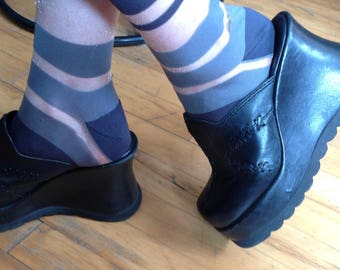 Chunky clogs leather black/platform/Boho/Black Leather Clogs