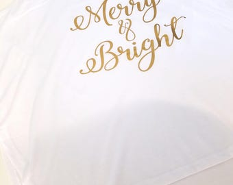 Merry And Bright Tank Top, Holiday Tank Top, Christmas Tank Top, Cute Tank Top, Gift For Her, Custom Tank Top, Graphic Tank Top, Gold Tank