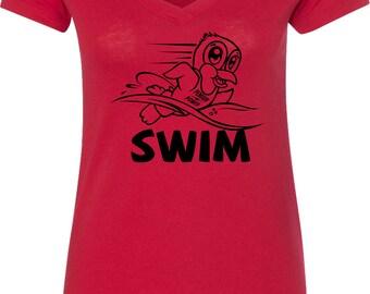Ladies Penguin Power Swim Black V-Neck Shirt BPENSWIM-N1540