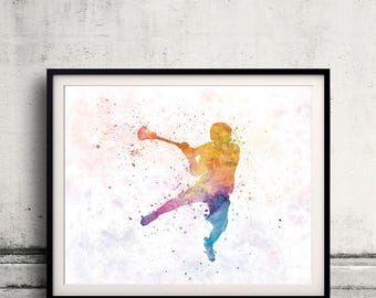 Lacrosse Woman Player 01 - poster watercolor wall art splatter sport illustration print Glicée artistic - SKU 2623